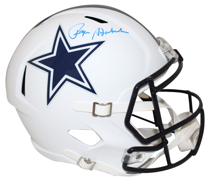 Roger Staubach Autographed Dallas Cowboys Flat White Replica Helmet BAS PSM-Powers Sports Memorabilia