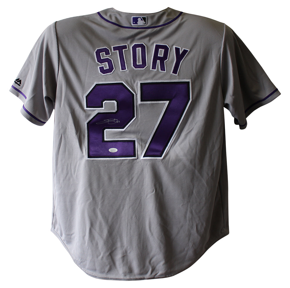 Trevor Story Autographed Colorado Rockies Majestic Grey XL Jersey JSA PSM-Powers Sports Memorabilia