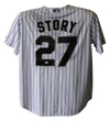 Trevor Story Autographed Colorado Rockies Majestic White XL Jersey JSA PSM-Powers Sports Memorabilia