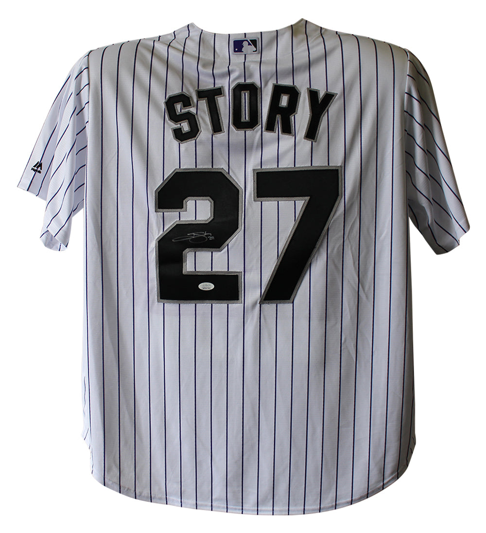 Trevor Story Autographed Colorado Rockies Majestic White XXL Jersey JSA PSM-Powers Sports Memorabilia