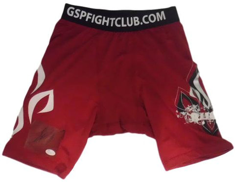 Georges St. Pierre Autographed MMA UFC Red Rush Trunks JSA PSM-Powers Sports Memorabilia