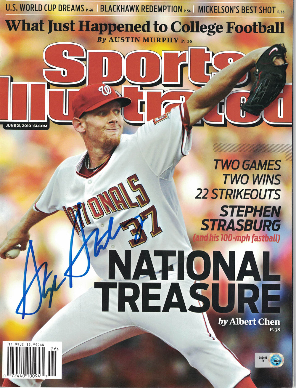 Stephen Strasburg Signed Washington Nationals Sports Illustrated MLB PSM-Powers Sports Memorabilia