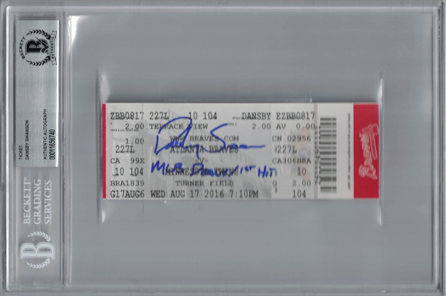 Dansby Swanson Signed Atlanta Braves Ticket MLB Debut & 1st Hit BAS Slab PSM-Powers Sports Memorabilia