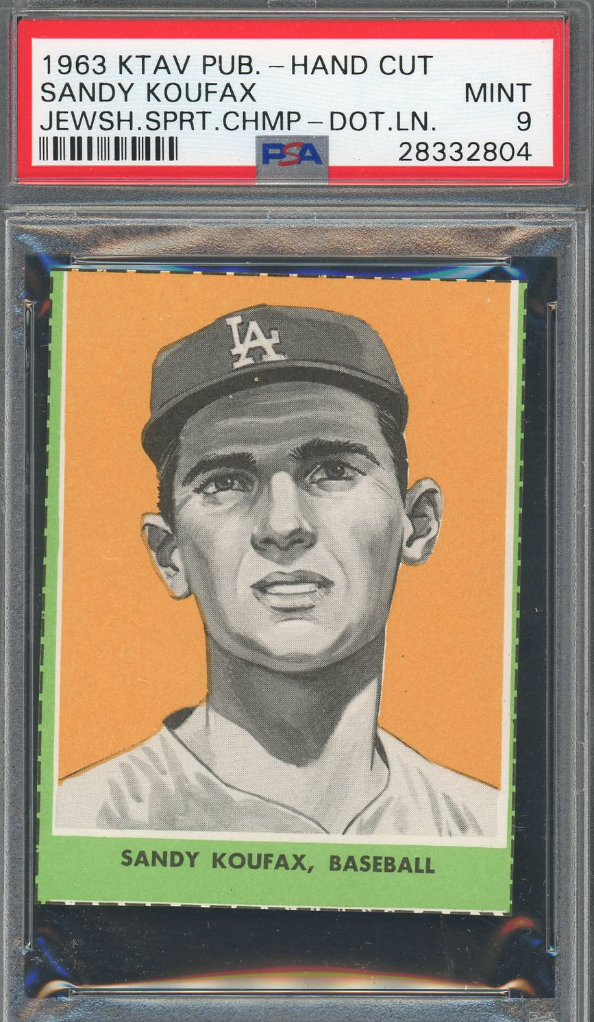 Sandy Koufax Los Angeles Dodgers 1963 Ktav Pub Hand Cut Baseball Card Graded PSA 9 MINT-Powers Sports Memorabilia