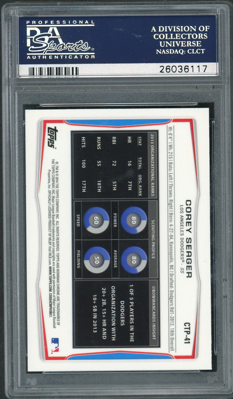 Corey Seager Los Angeles Dodgers 2014 Bowman Draft Picks Top Prospects Chrome Baseball Rookie Card RC #CTP-41 Graded PSA 10 GEM MINT-Powers Sports Memorabilia