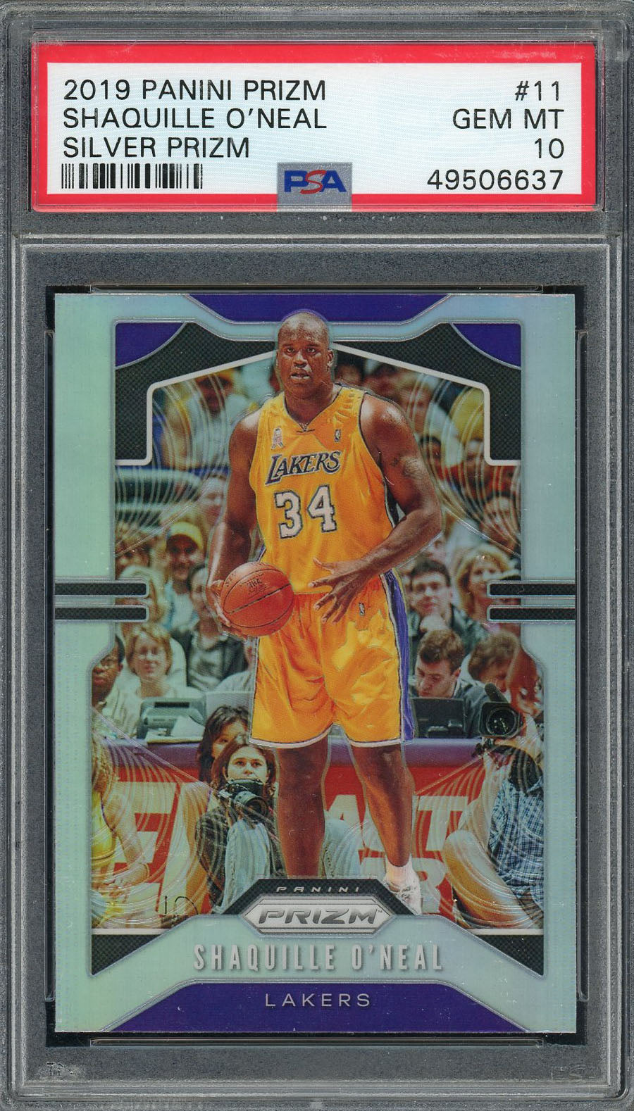 Shaquille O'Neal Los Angeles Lakers 2019 Panini Prizm Basketball Card #11 Graded PSA 10 GEM MINT-Powers Sports Memorabilia