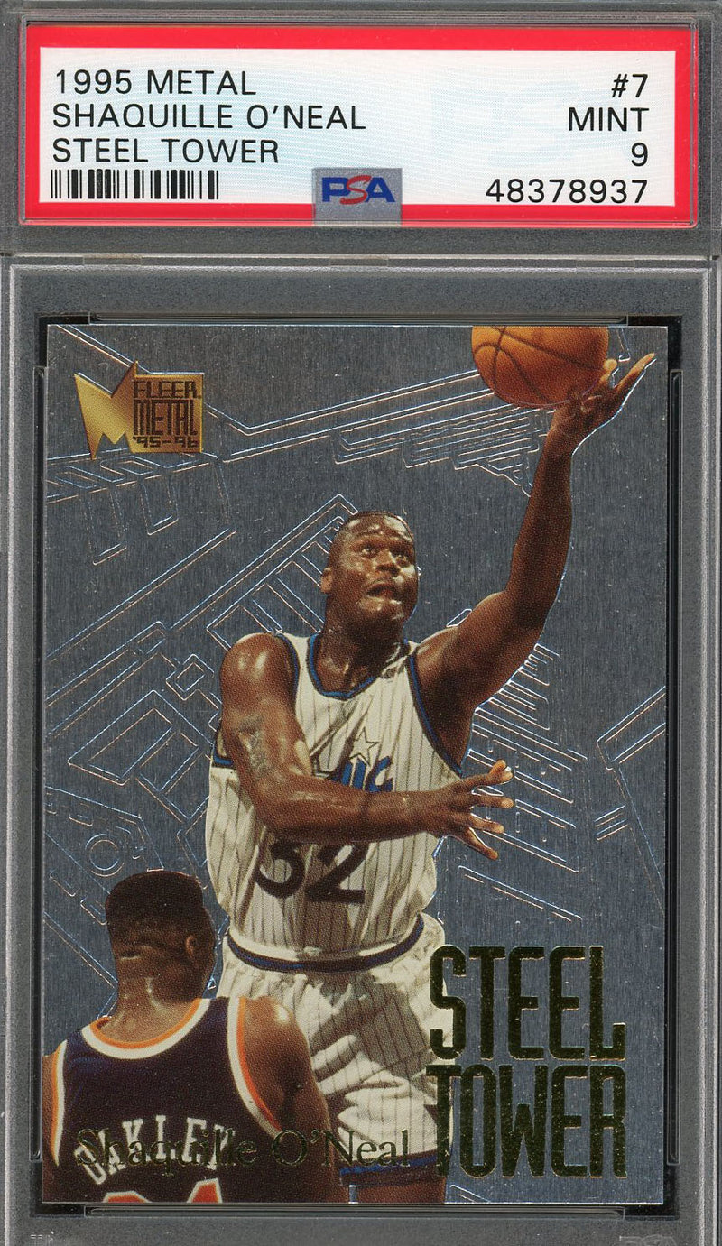 Shaquille O'Neal Orlando Magic 1995 Metal Steel Tower Basketball Card #7 Graded PSA 9 MINT-Powers Sports Memorabilia