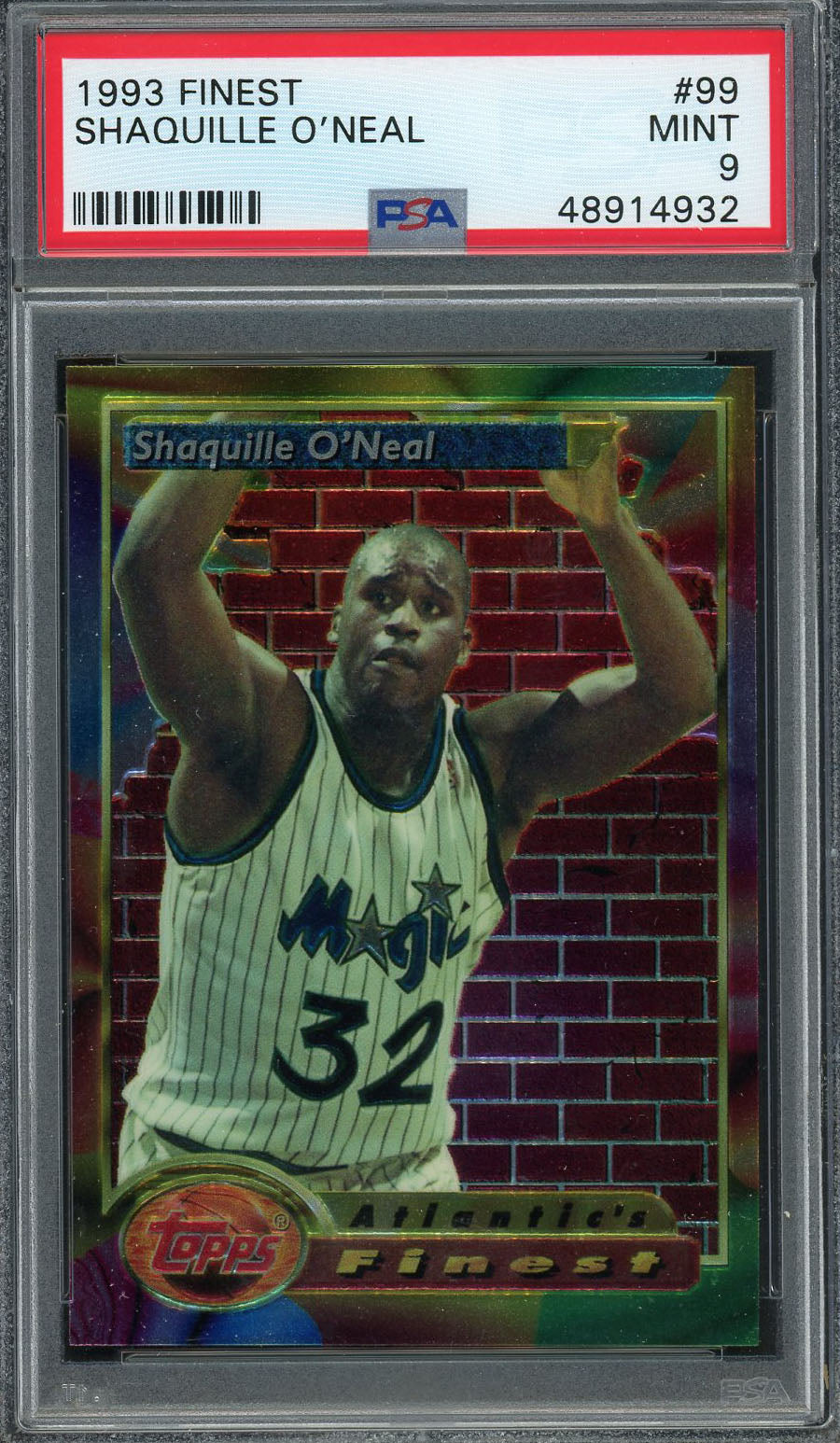 Shaquille O'Neal Orlando Magic 1993 Topps Finest Basketball #99 Graded PSA 9 MINT-Powers Sports Memorabilia