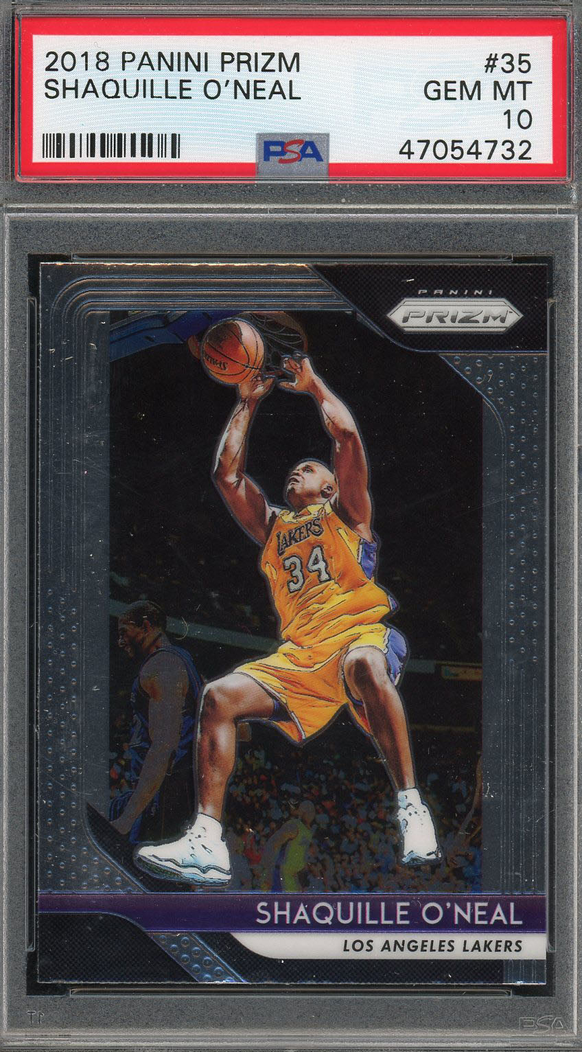 Shaquille O'Neal Los Angeles Lakers 2018 Panini Prizm Basketball Card #35 Graded PSA 10 GEM MINT-Powers Sports Memorabilia