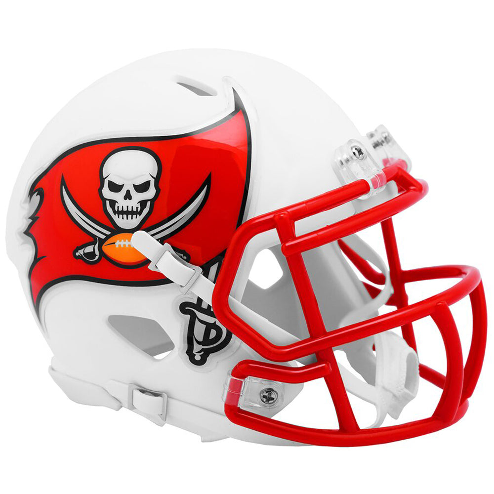 Tampa Bay Buccaneers Full Size White Matte Speed Replica Helmet New. This is a stock photo PSM-Powers Sports Memorabilia