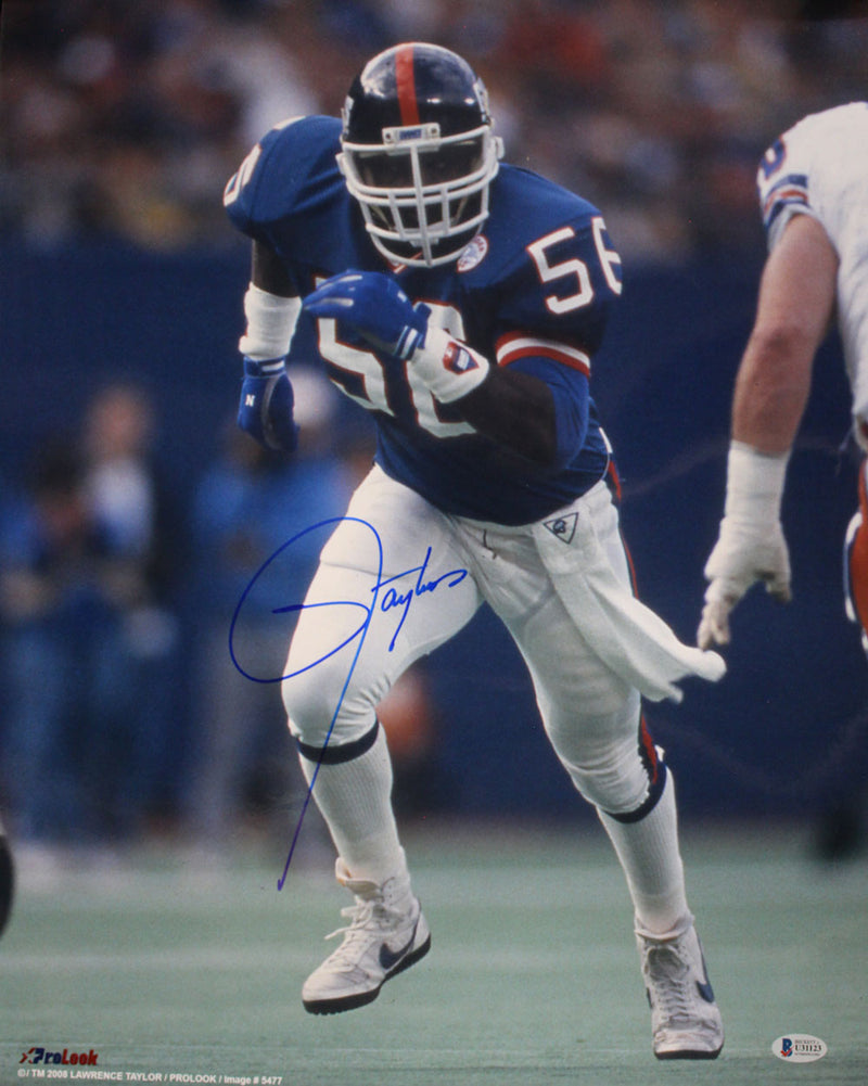 Lawrence Taylor Autographed/Signed New York Giants 16x20 Photo BAS PSM-Powers Sports Memorabilia