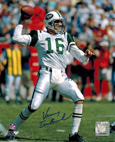 Vinny Testaverde Autographed New York Jets 8x10 (white uniform - full body) PSM-Powers Sports Memorabilia