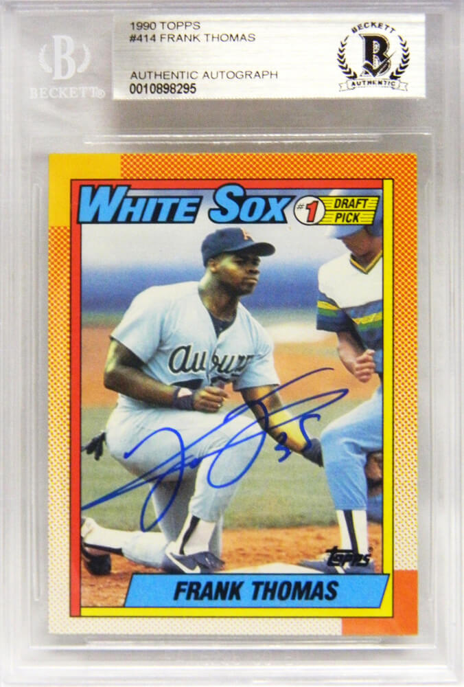 Frank Thomas Signed White Sox 1990 Topps Rookie Card #414 (Beckett Encapsulated) PSM-Powers Sports Memorabilia