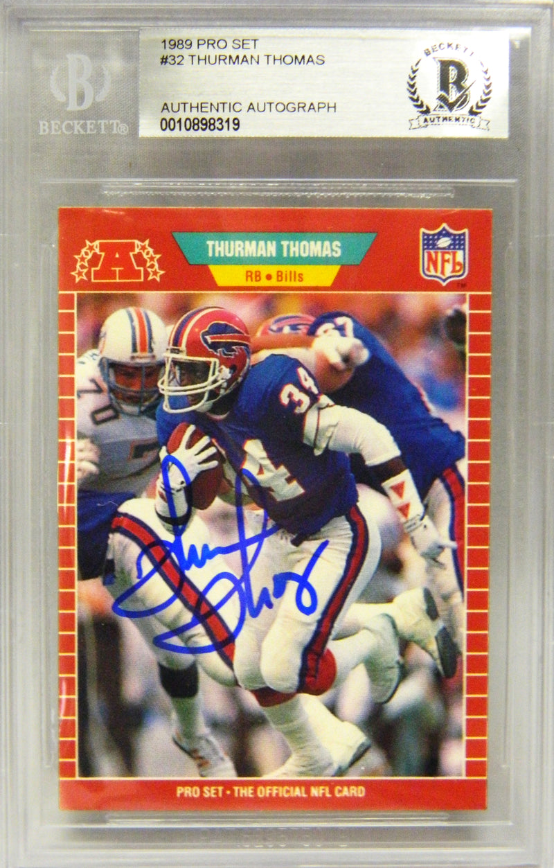 Thurman Thomas Signed Bills 1989 Score Rookie Card #211 (Beckett Encapsulated) PSM-Powers Sports Memorabilia