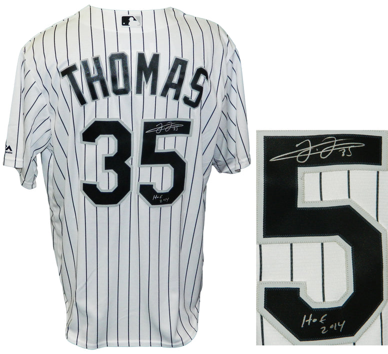 Frank Thomas Signed Chicago White Sox Majestic White Pinstripe Jersey w/HOF 2014 PSM-Powers Sports Memorabilia