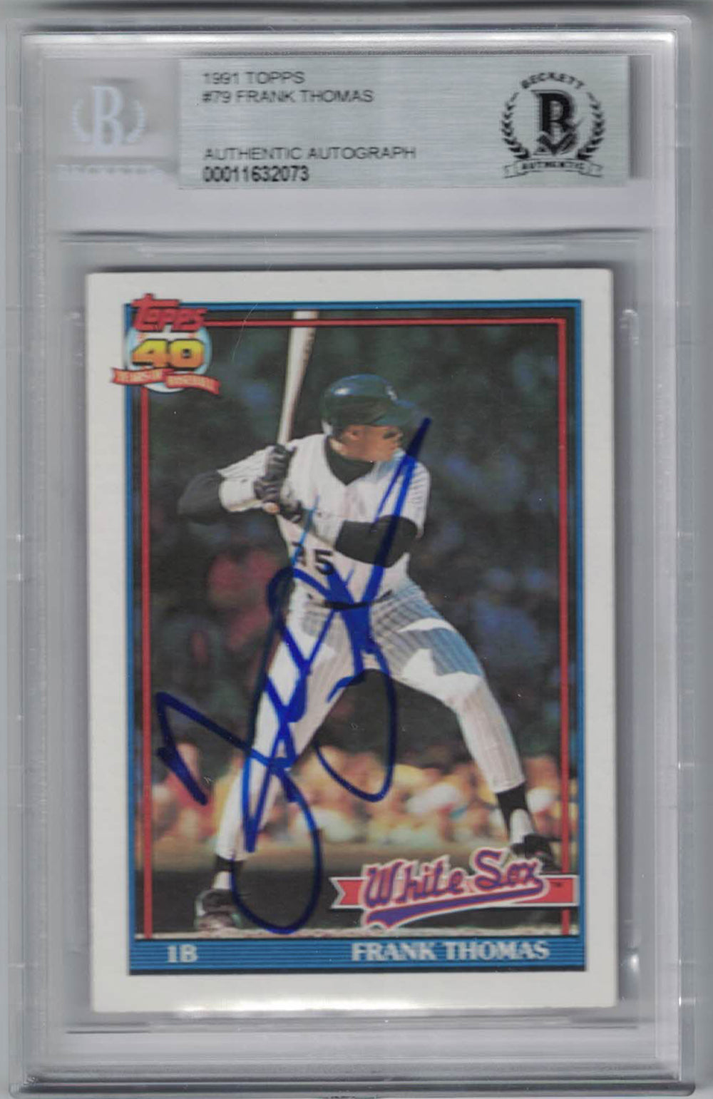 Frank Thomas Autographed Chicago White Sox 1991 Topps Trading Card BAS PSM-Powers Sports Memorabilia
