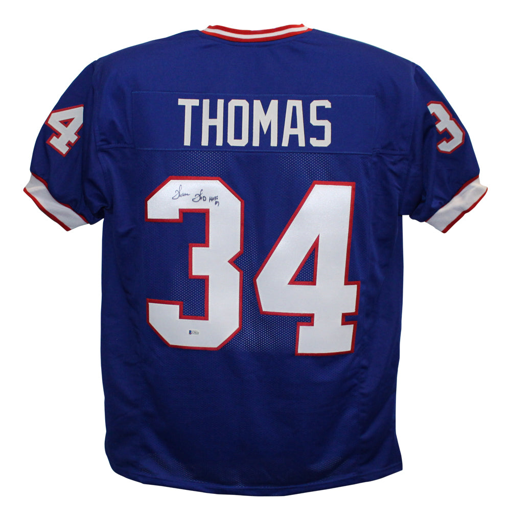 Thurman Thomas Autographed/Signed Pro Style Blue XL Jersey HOF BAS PSM-Powers Sports Memorabilia