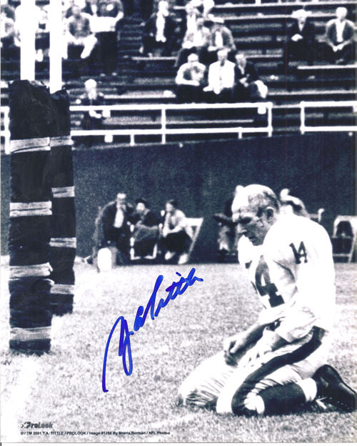 YA Tittle Autographed New York Giants 8x10 Bloody Vertical Photo PSM-Powers Sports Memorabilia