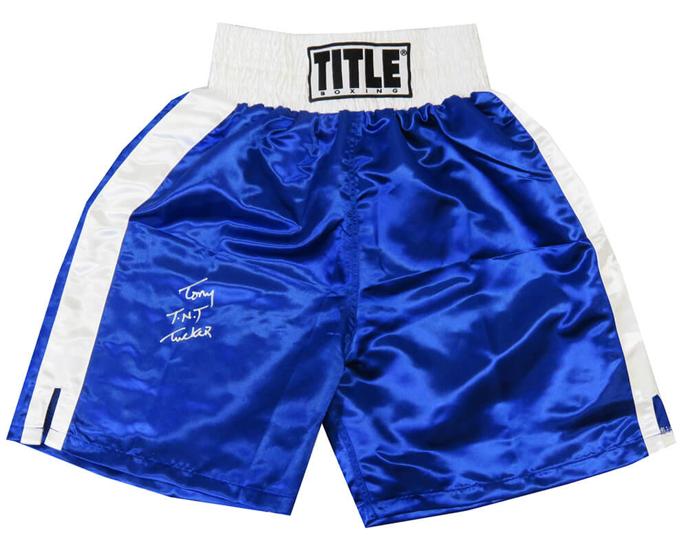 Tony Tucker Signed Title Blue Boxing Trunks w/TNT PSM-Powers Sports Memorabilia