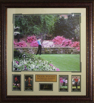 Tiger Woods unsigned Engraved Signature Series Collection 30x32 Leather Framed 2002 Masters Azaleas Photo with 4 Cards- 4 Time M PSM-Powers Sports Memorabilia
