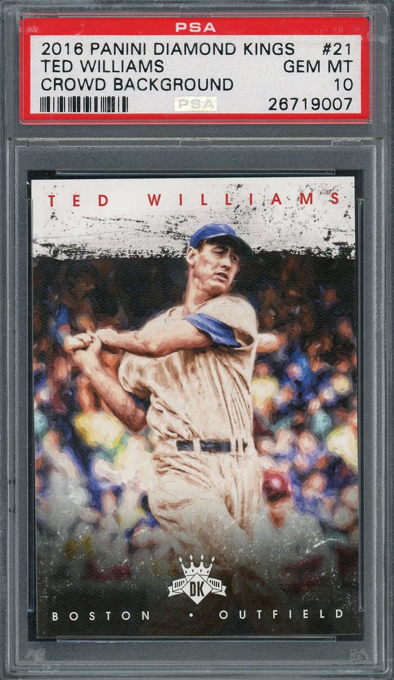 Ted Williams Boston Red Sox 2016 Panini Diamond Kings Crowd Background Baseball Card #21 Graded PSA 10 GEM MINT-Powers Sports Memorabilia