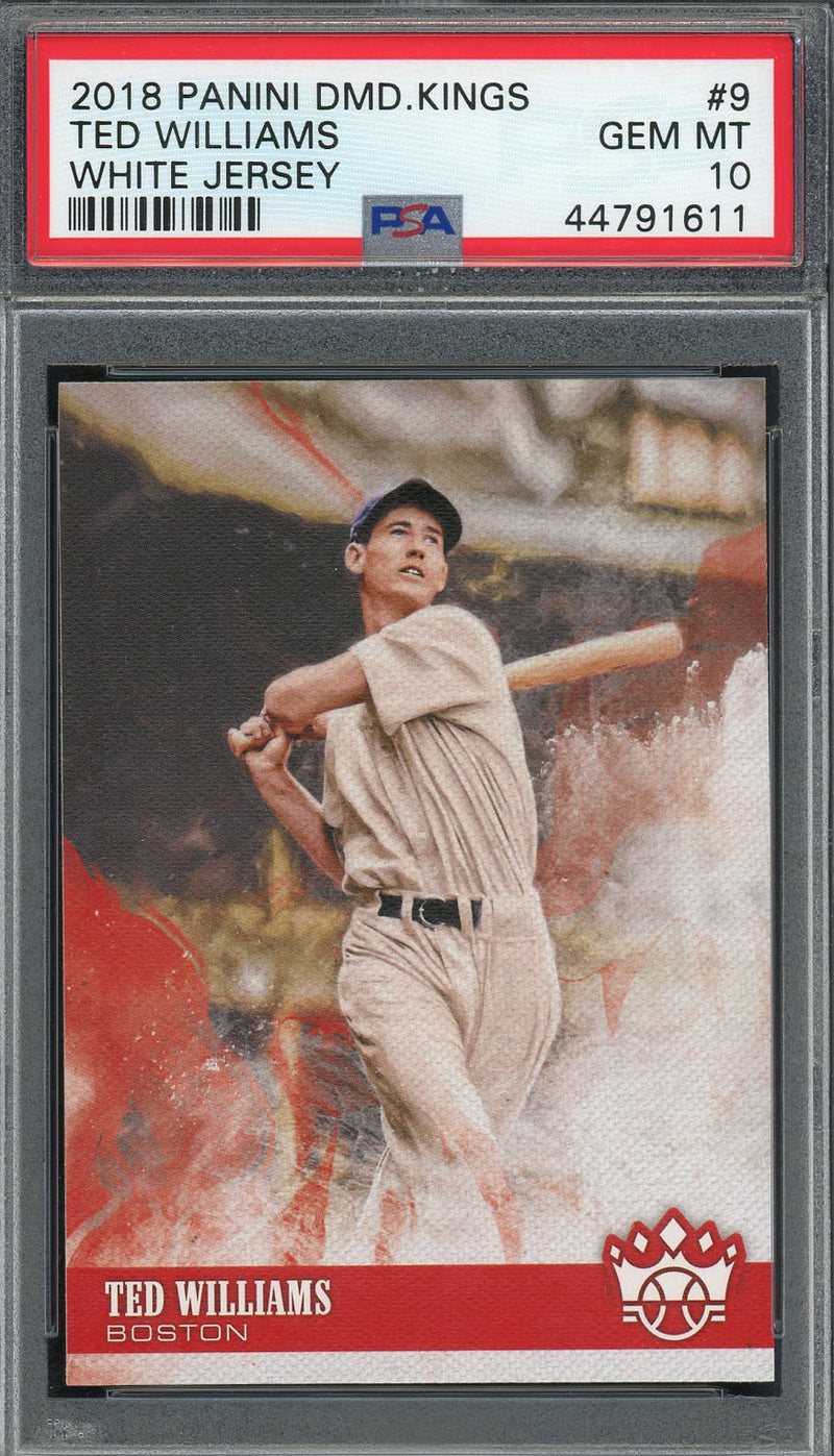 Ted Williams 2018 Panini Diamond Kings White Jersey Baseball Card #9 Graded PSA 10 GEM MINT-Powers Sports Memorabilia