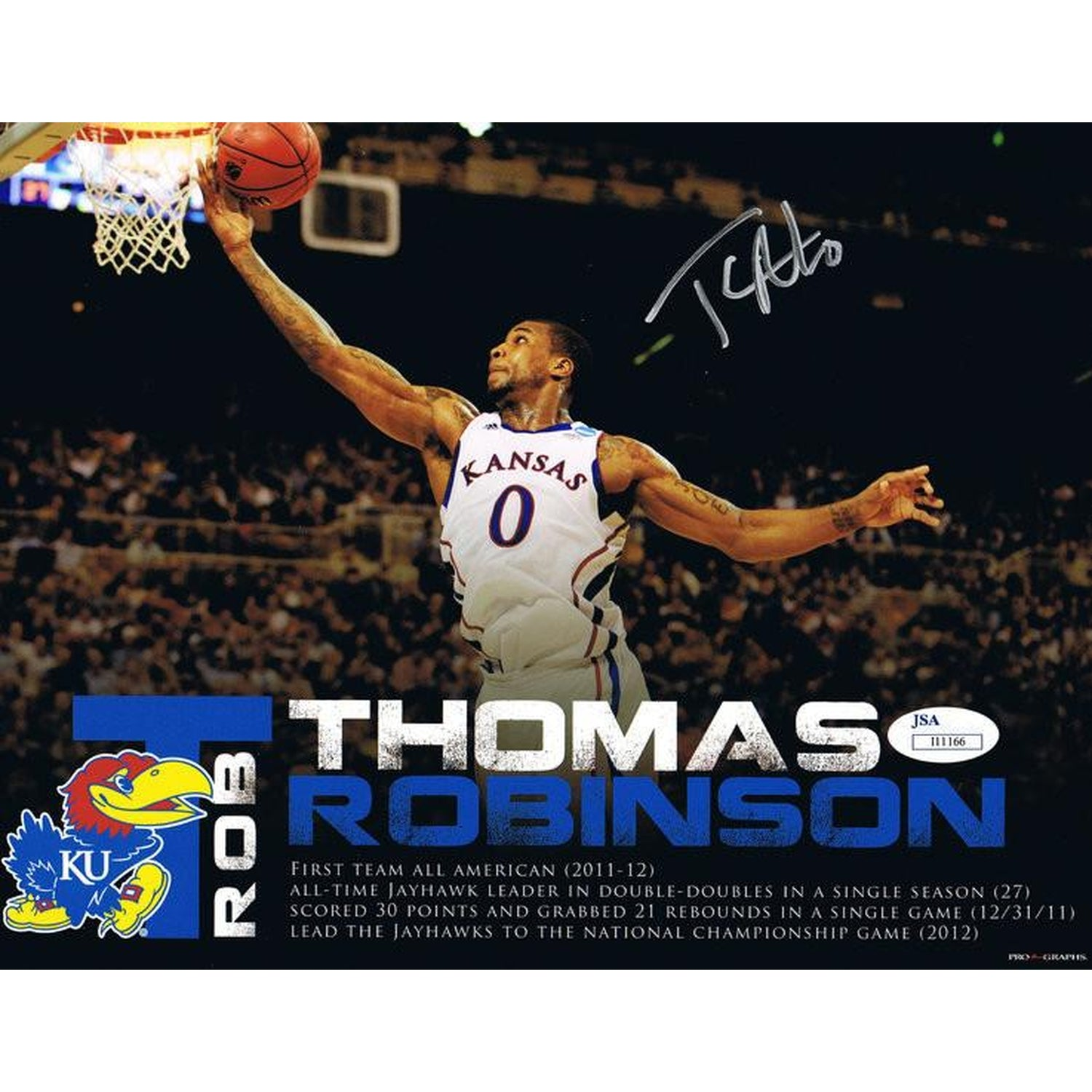 Thomas Robinson Signed Kansas Basketball 8x10 Autographed Photo JSA-Powers Sports Memorabilia