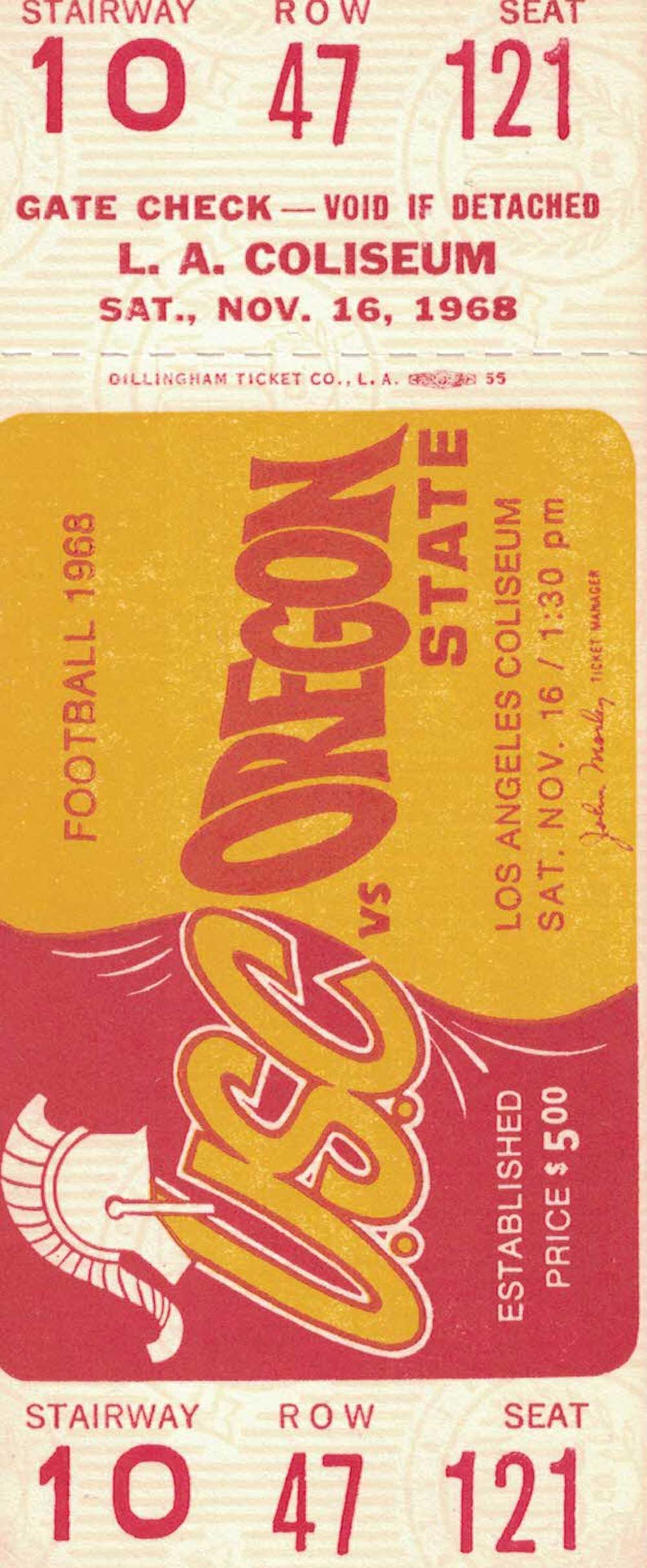 USC Trojans vs Oregon State Beavers Nov 16th 1968 Row 47 Football Ticket PSM-Powers Sports Memorabilia