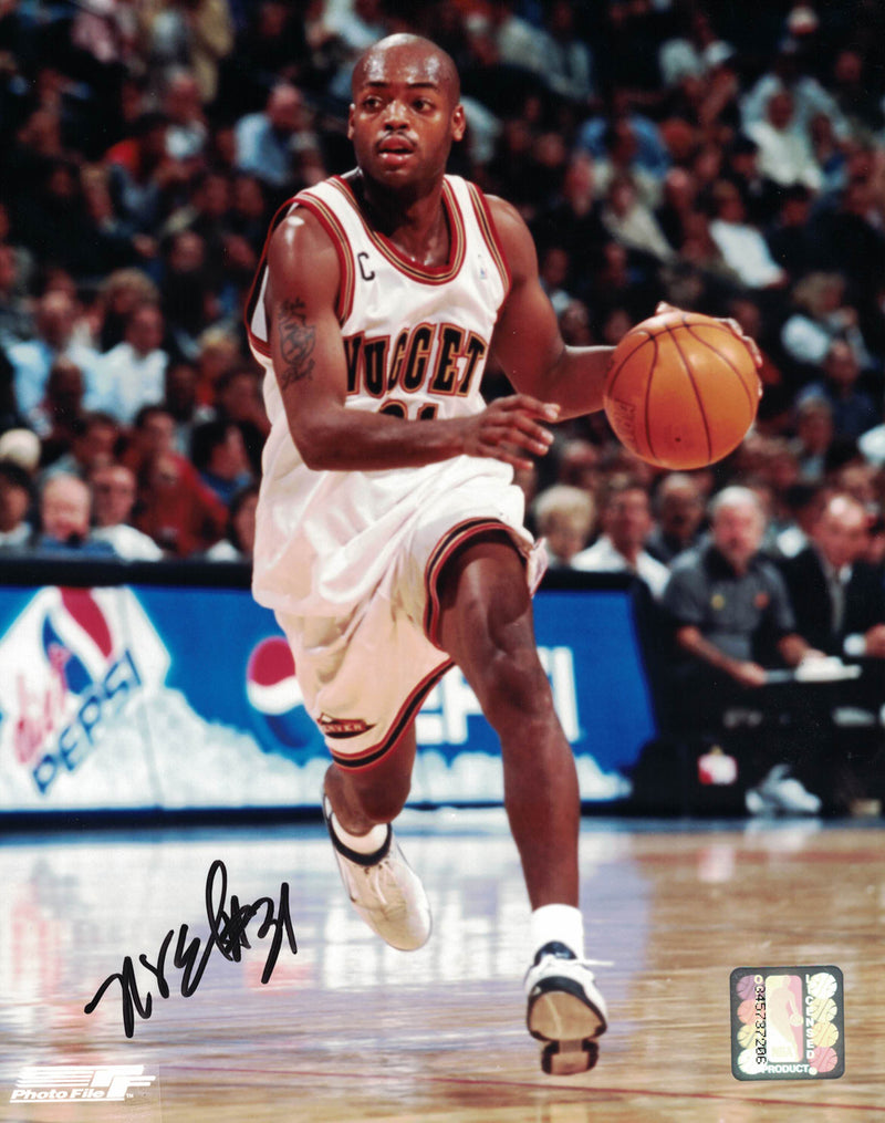 Nick Van Exel Autographed/Signed Denver Nuggets 8x10 Photo PF PSM-Powers Sports Memorabilia