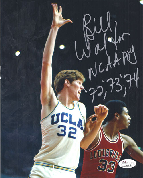Bill Walton Autographed UCLA Bruins 8x10 Photo w/NCAA POY 72, 73, 74 JSA PSM-Powers Sports Memorabilia