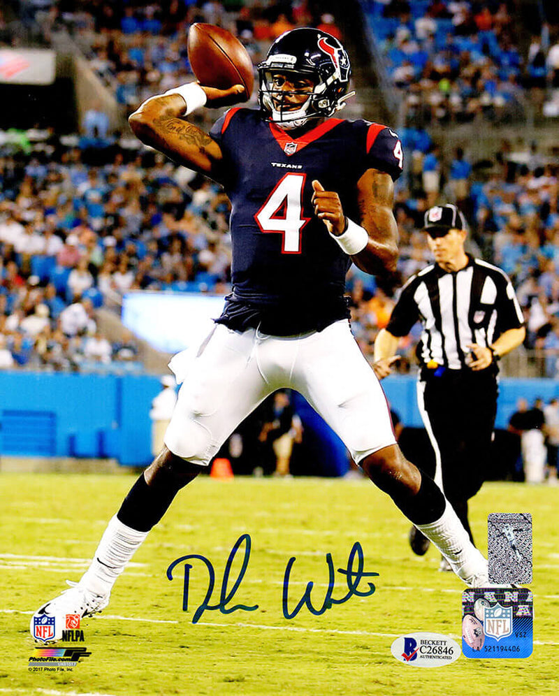 Deshaun Watson Signed Houston Texans Passing Action 8x10 Photo (Beckett) PSM-Powers Sports Memorabilia