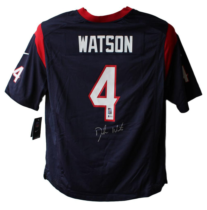 Deshaun Watson Autographed Houston Texans Nike Blue XL Jersey BAS PSM-Powers Sports Memorabilia