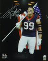 JJ Watt Autographed Houston Texans 16x20 Photo w/USA Flag & JSA PSM-Powers Sports Memorabilia