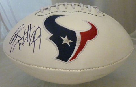 JJ Watt Autographed Houston Texans white logo Football JSA PSM-Powers Sports Memorabilia