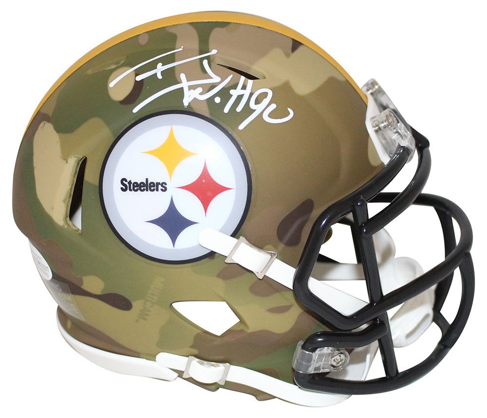 TJ Watt Autographed/Signed Pittsburgh Steelers Camo Mini Helmet BAS PSM-Powers Sports Memorabilia