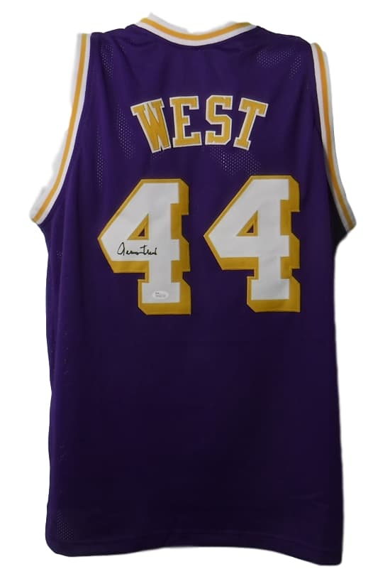 Jerry West Autographed Los Angeles Lakers Size L Purple Jersey JSA PSM-Powers Sports Memorabilia