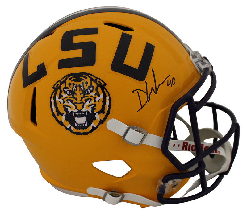 Devin White Autographed/Signed LSU Tigers Speed Replica Helmet JSA PSM-Powers Sports Memorabilia