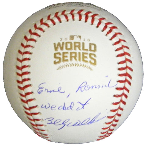 Billy Williams Signed Rawlings Official 2016 World Series Baseball w/Ernie, Ronnie We Did It PSM-Powers Sports Memorabilia