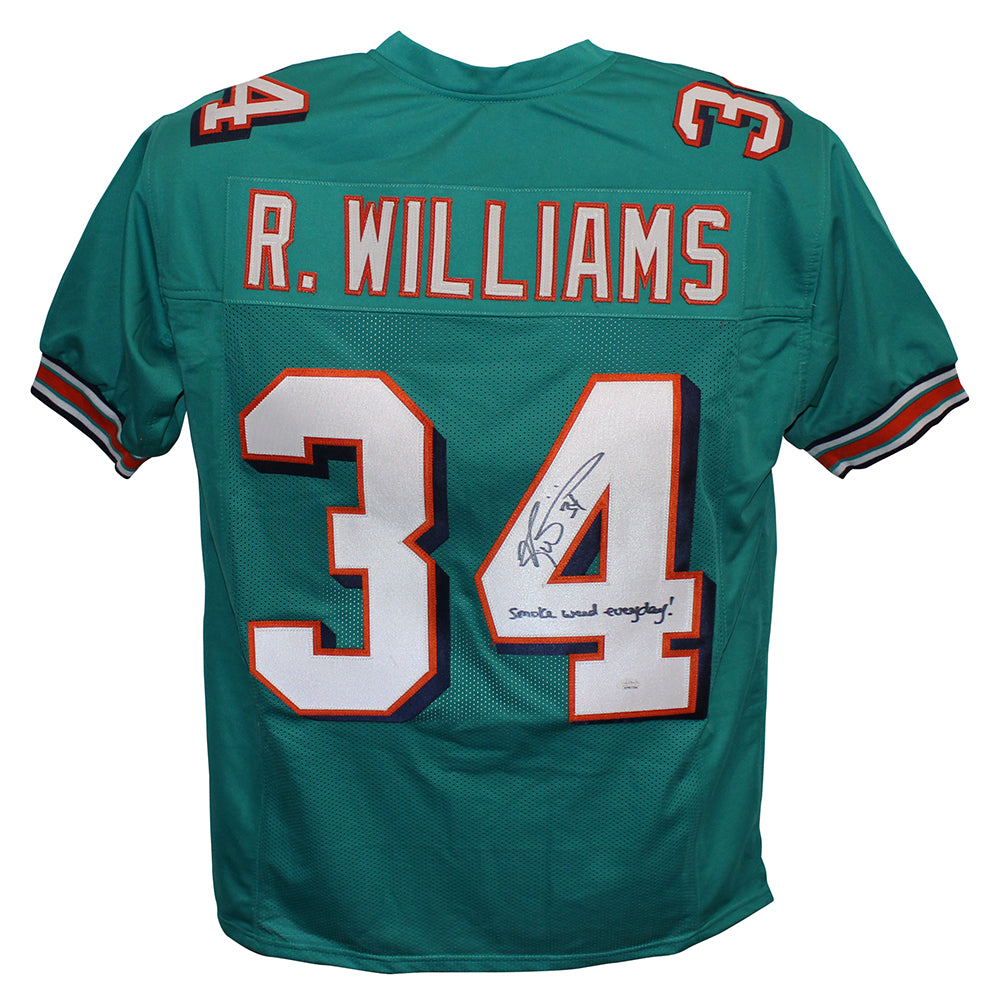 Ricky Williams Autographed/Signed Pro Style Teal XL Jersey SWED BAS PSM-Powers Sports Memorabilia