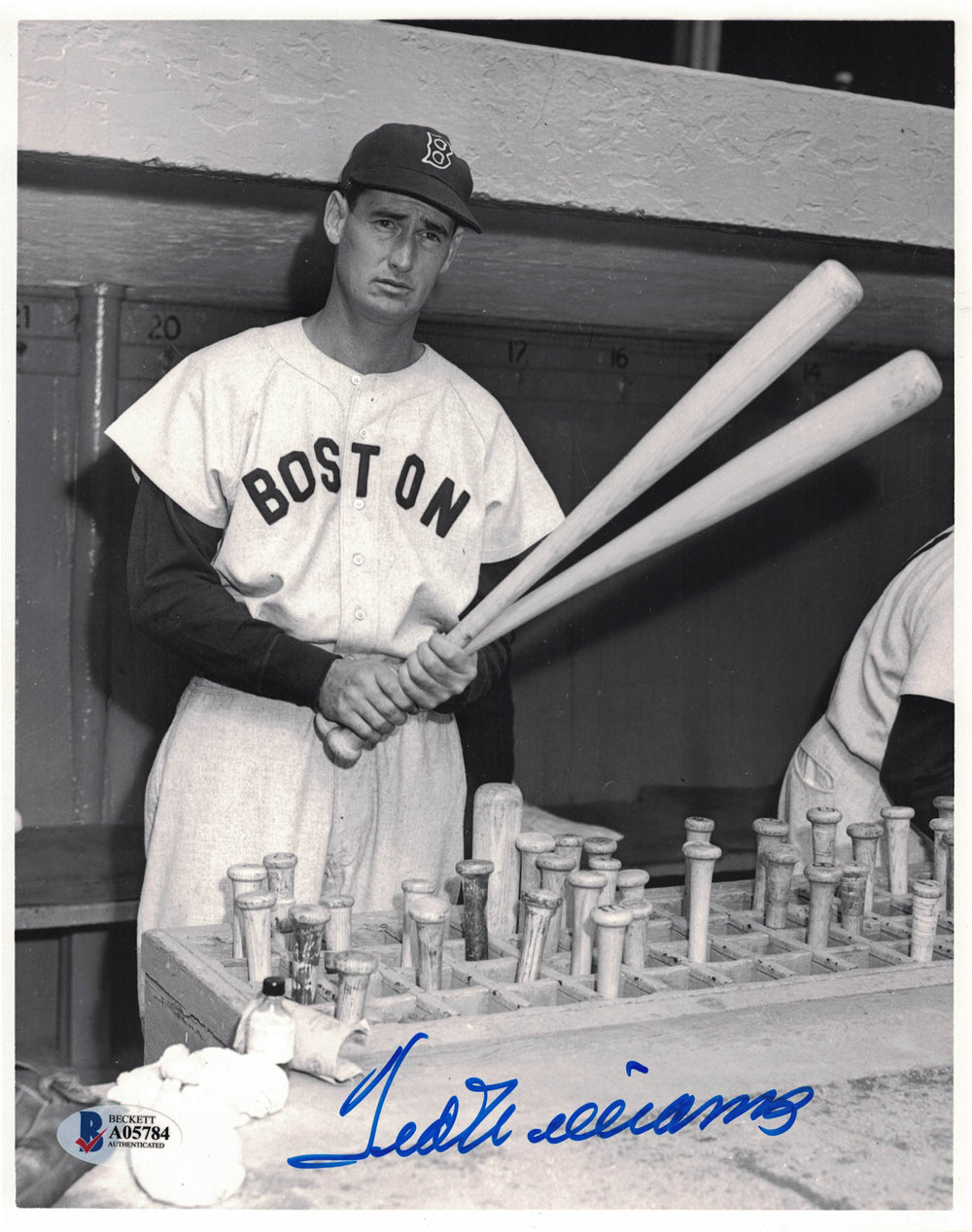 Ted Williams Autographed Boston Red Sox 8x10 Photo Grade 10 Auto BAS PSM-Powers Sports Memorabilia