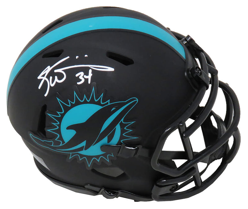 Ricky Williams Signed Miami Dolphins Eclipse Black Matte Riddell Speed Mini Helmet PSM-Powers Sports Memorabilia