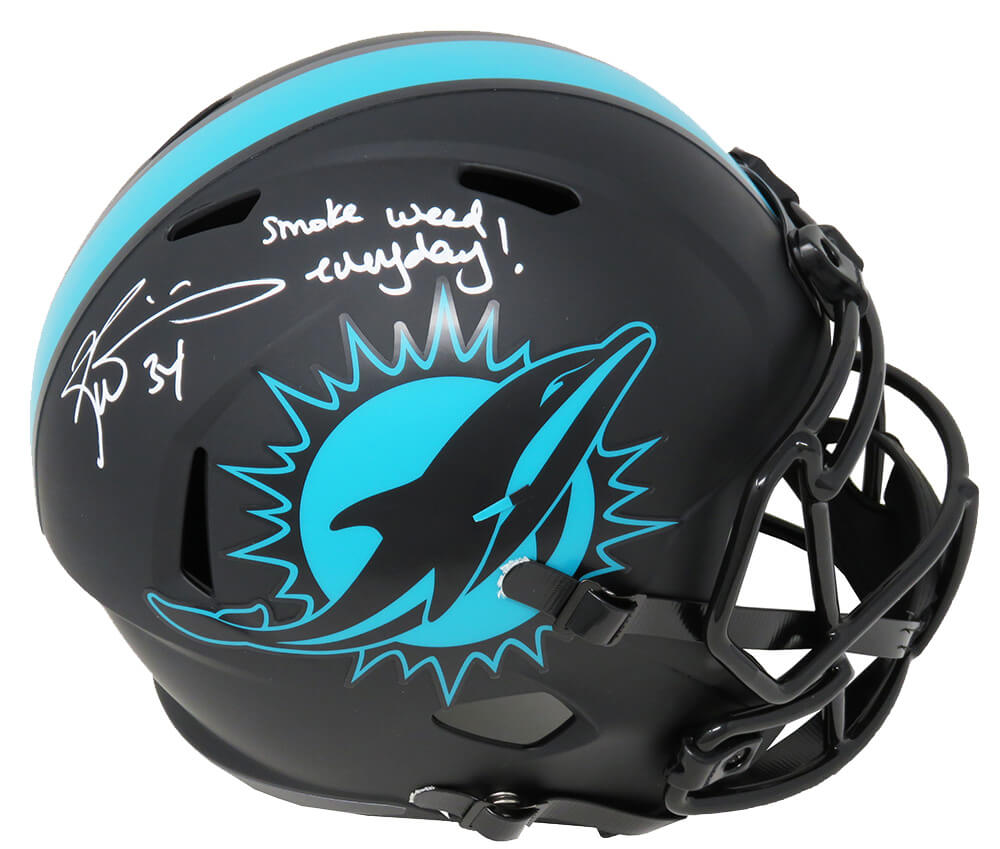 Ricky Williams Signed Miami Dolphins Eclipse Black Matte Riddell Full Size Speed Replica Helmet w/Smoke Weed Everyday PSM-Powers Sports Memorabilia