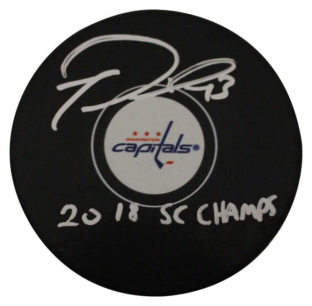 Tom Wilson Autographed Washington Capitals Logo Puck 2018 SC Champs FAN PSM-Powers Sports Memorabilia