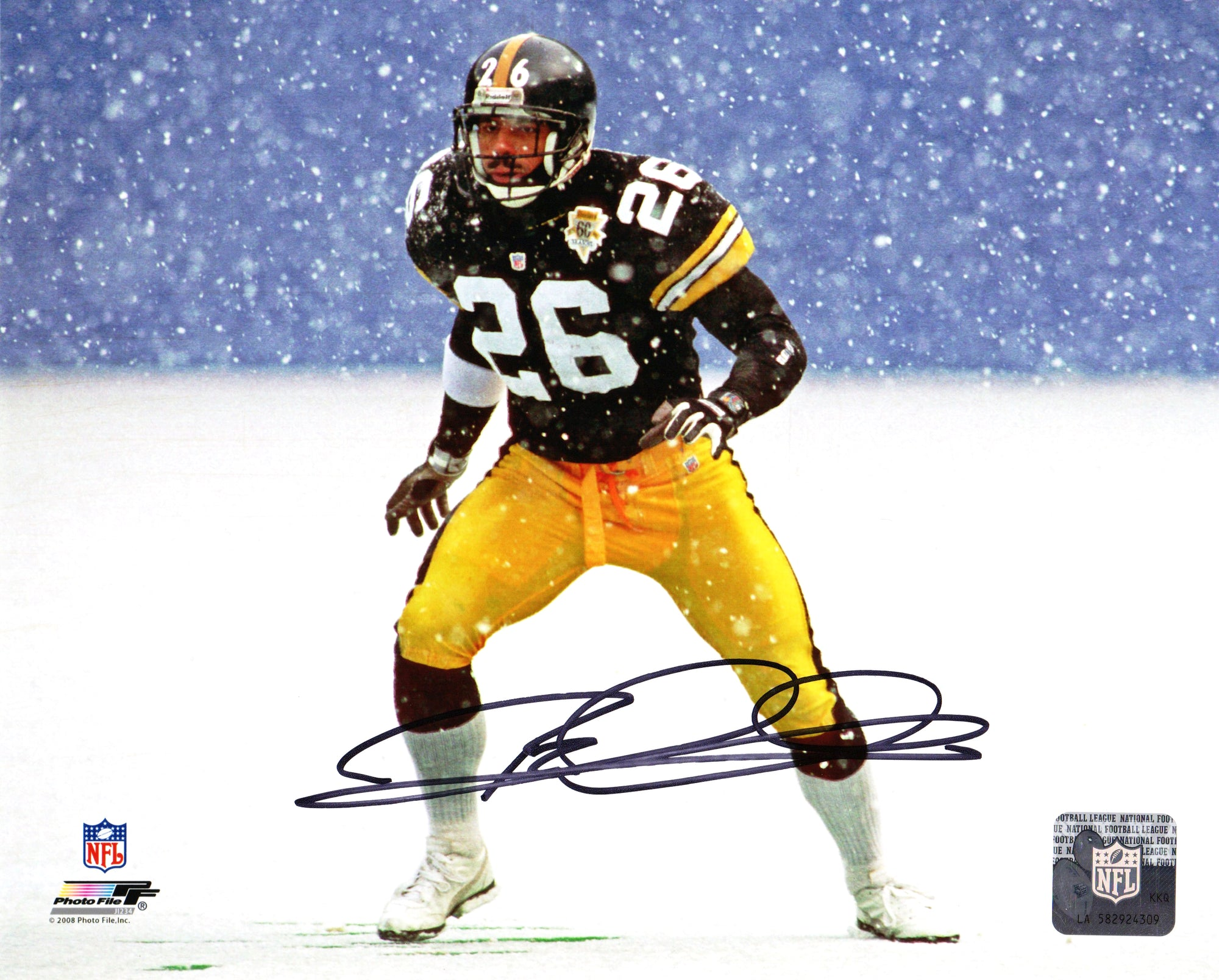 Rod Woodson Signed Pittsburgh Steelers Action Snow Game 8x10 Photo PSM-Powers Sports Memorabilia