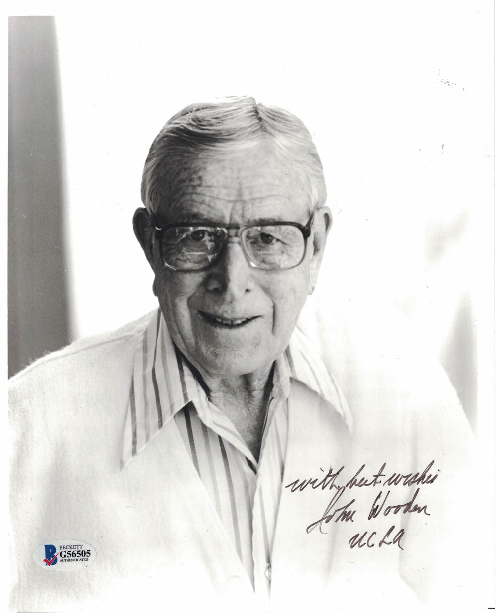 John Wooden Autographed/Signed UCLA Bruins 8x10 Photo Best Wishes BAS PSM-Powers Sports Memorabilia