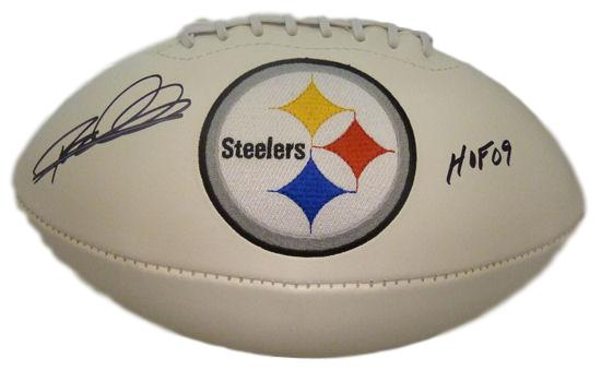 Rod Woodson Autographed Pittsburgh Steelers white logo football w/HOF 09 PSM-Powers Sports Memorabilia