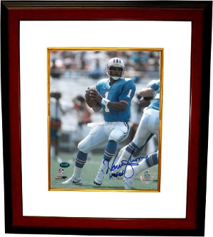 Warren Moon signed Houston Oilers 8x10 Photo HOF06 Custom Framed PSM-Powers Sports Memorabilia