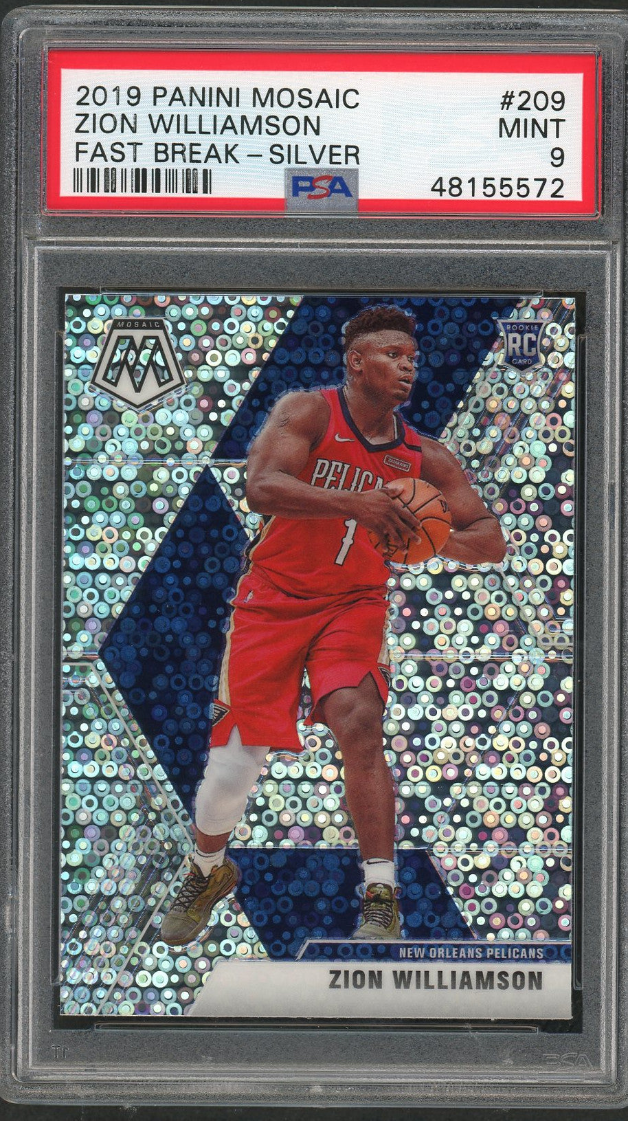Zion Williamson New Orleans Pelicans 2019 Panini Mosaic Fast Break Silver Prizm Basketball Rookie Card RC #209 Graded PSA 9 MINT-Powers Sports Memorabilia