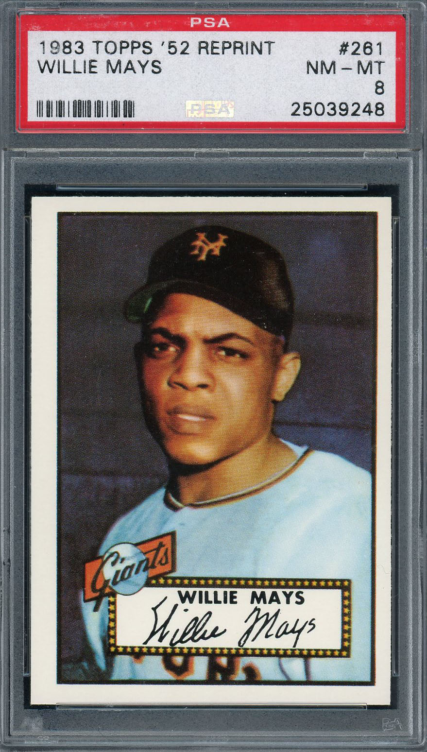 Willie Mays San Francisco Giants 1983 Topps 1952 Reprint Baseball Card #261 Graded PSA 8-Powers Sports Memorabilia