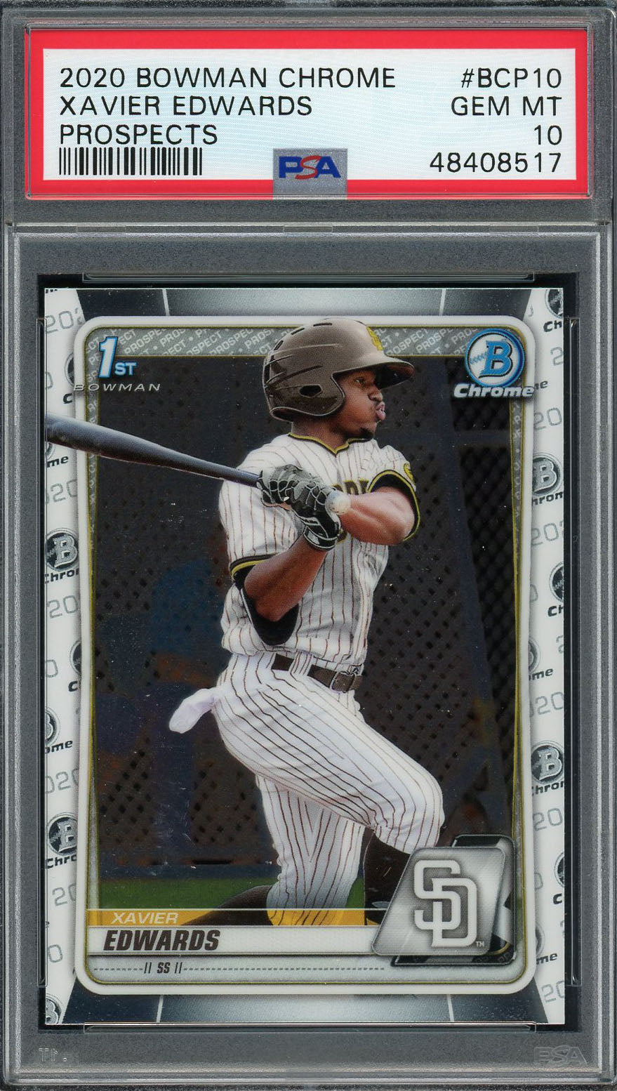 Xavier Edwards San Diego Padres 2020 Bowman Chrome Prospects Rookie Baseball Card #BCP10 Graded PSA 10 GEM MINT-Powers Sports Memorabilia